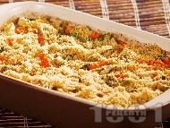 Печен ориз с моркови, праз и сирене пармезан на фурна